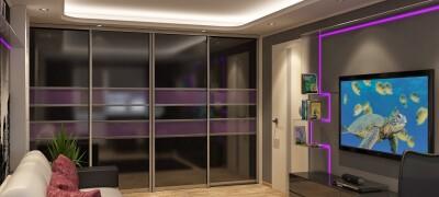Дизайн и расположения шкафа-купе в гостиной