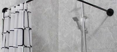 Описание углового карниза для штор в ванной комнате