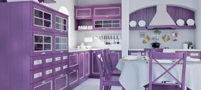 Применение в интерьере кухни фиолетового цвета