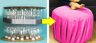 Изготовление пуфика из пластиковых бутылок своими руками