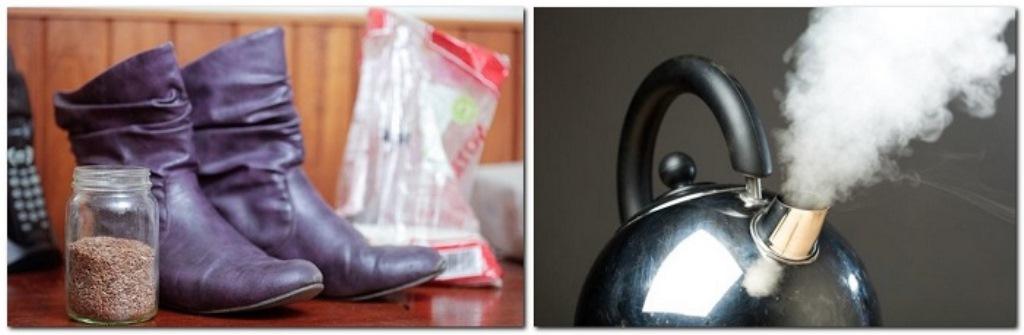 как растянуть обувь кипятком