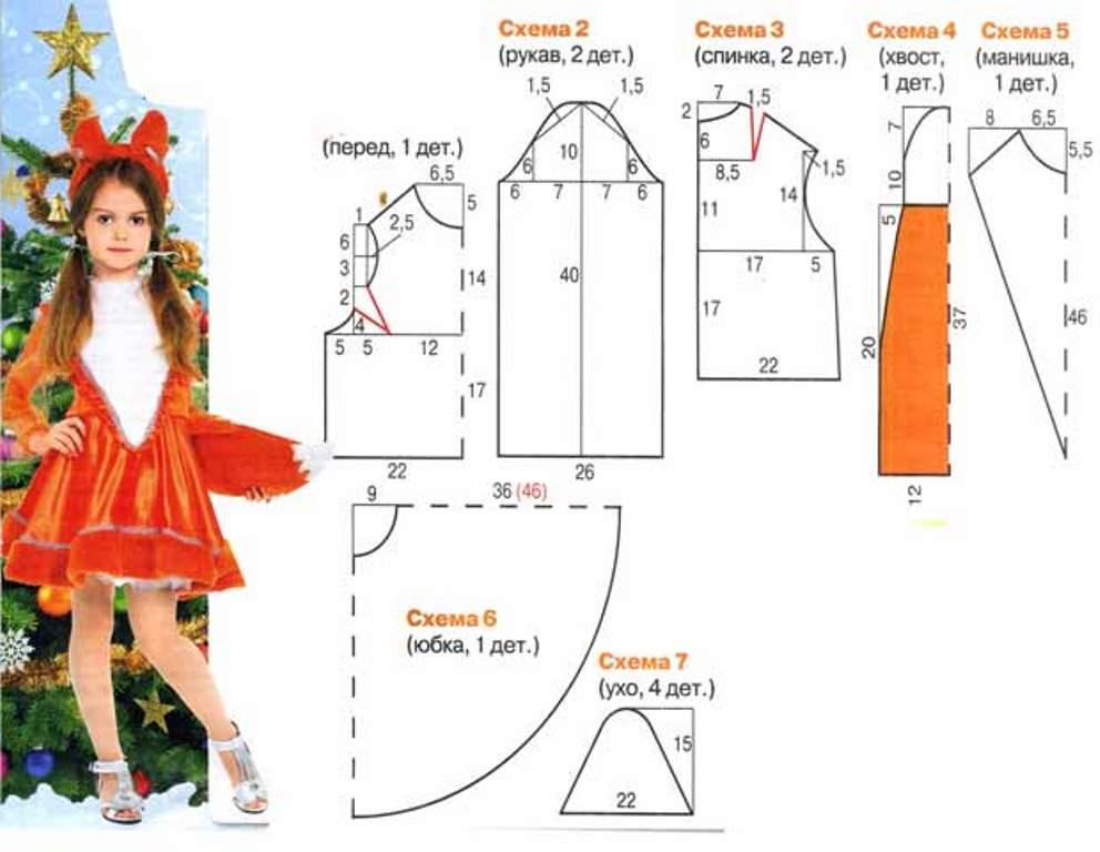 новогодний костюм для девочки лиса выкройка