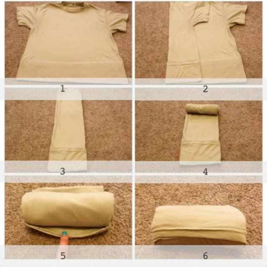 свернуть футболку в рулон