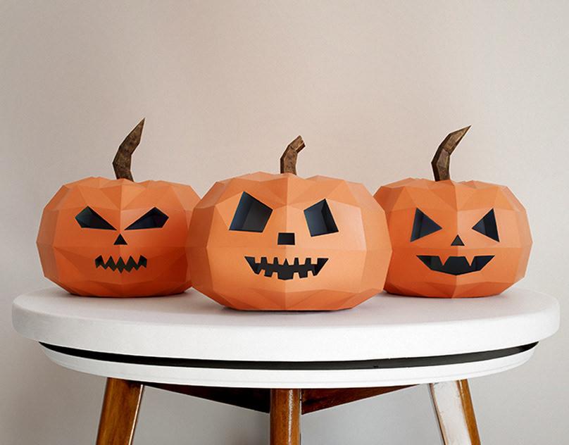тыква на хэллоуин papercraft