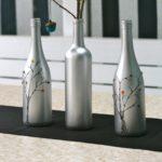 декор бутылок серебристой краской