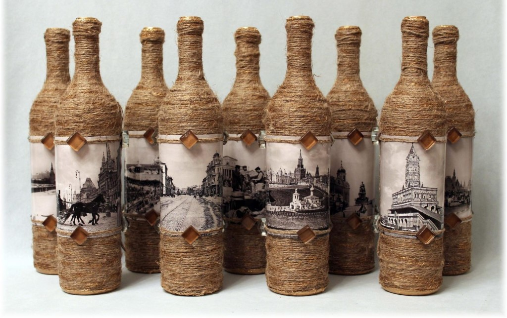 декор бутылок бечевкой