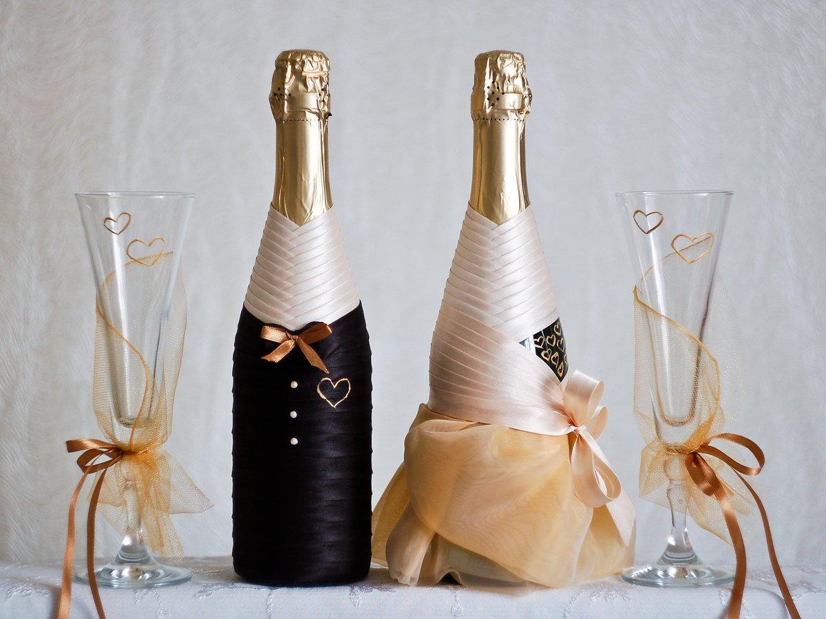 декор бутылок лентами идеи