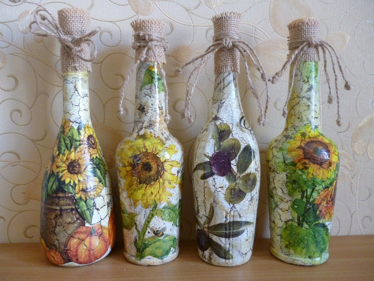 декор бутылок салфетками