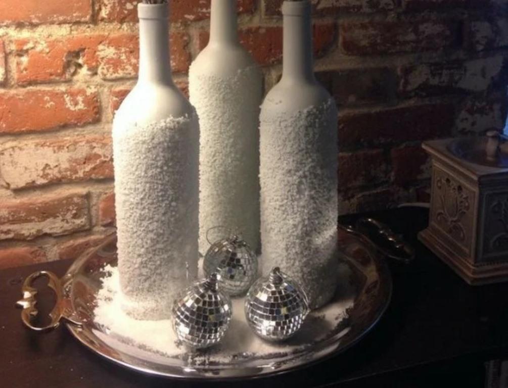 декор бутылок солью