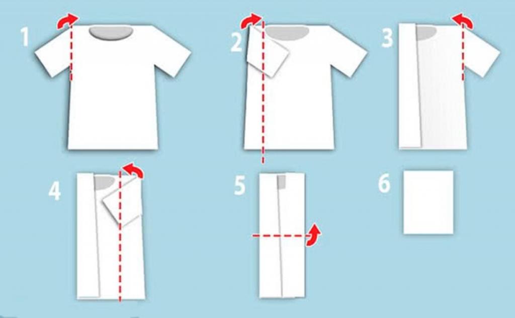 как сложить рубашку с коротким рукавом