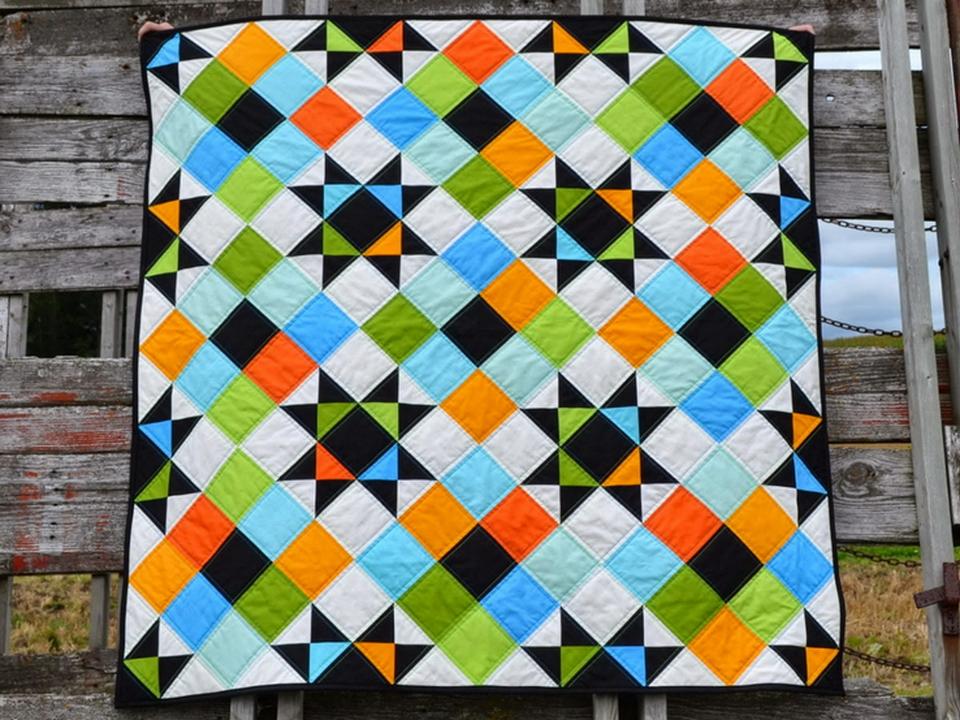 лоскутный коврик квадрат в квадрате