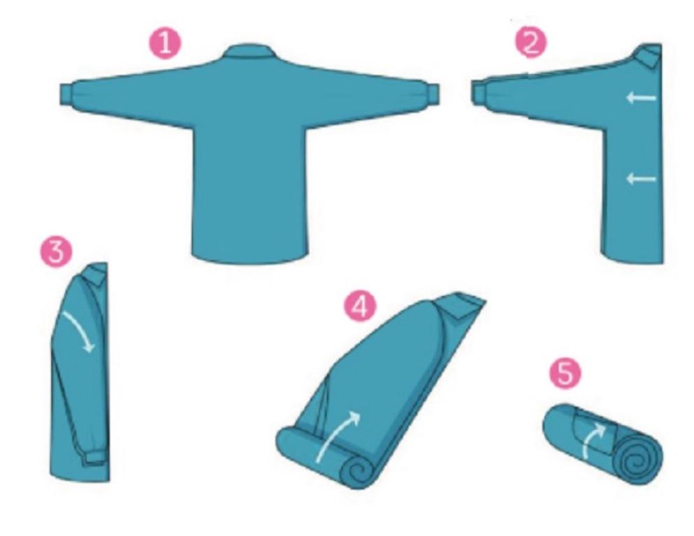 как сложить рубашку рулоном