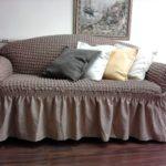 чехол на диван евро коричневый