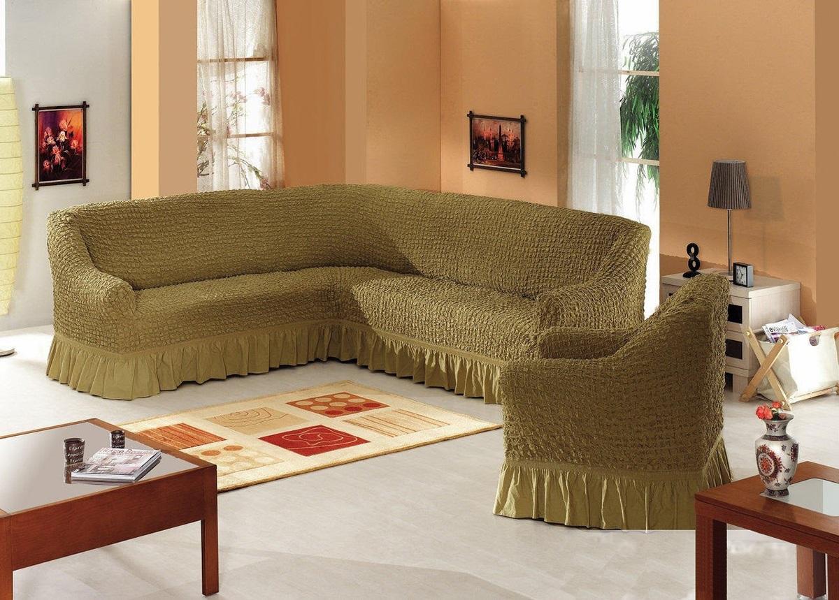 чехол на цельный угловой диван