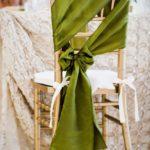 чехол для стула зеленый с бантом