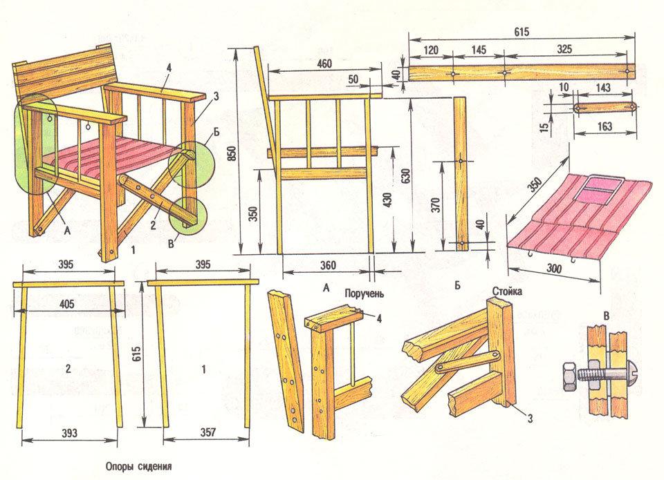 чертеж деревянного кресла