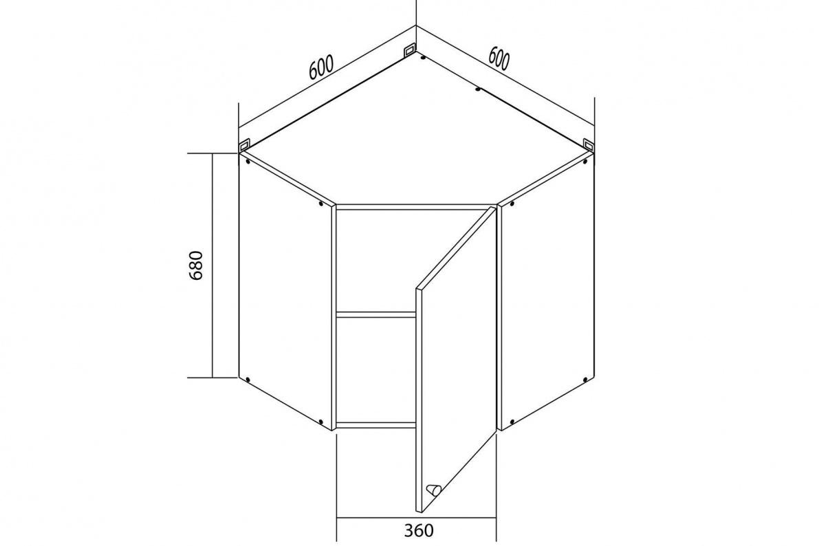 чертеж трапециевидной тумбы на кухню