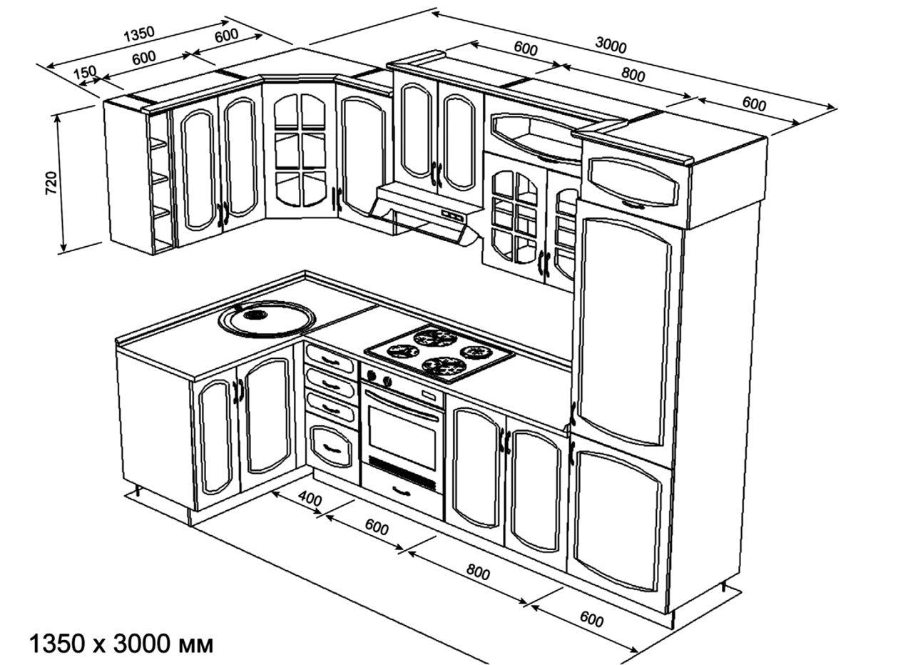 чертеж встроенной кухни