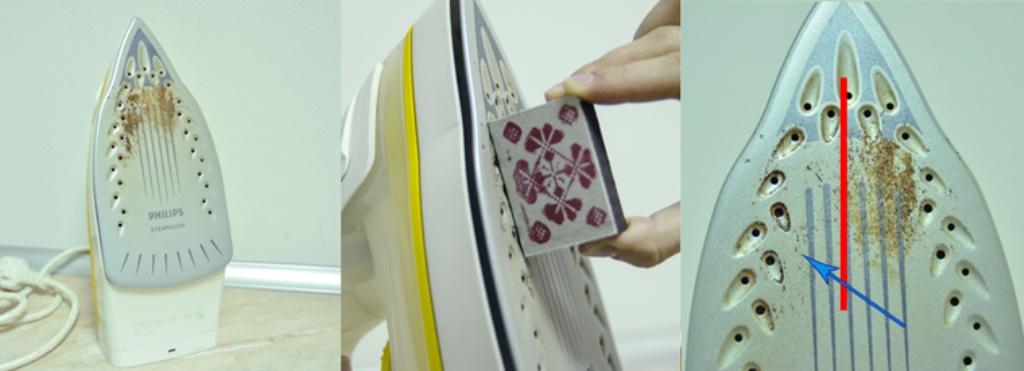 чистка утюга спичечным коробком
