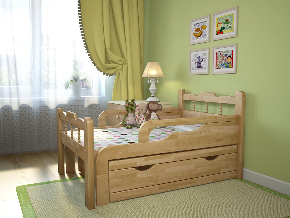 деревянная детская кровать с бортиками