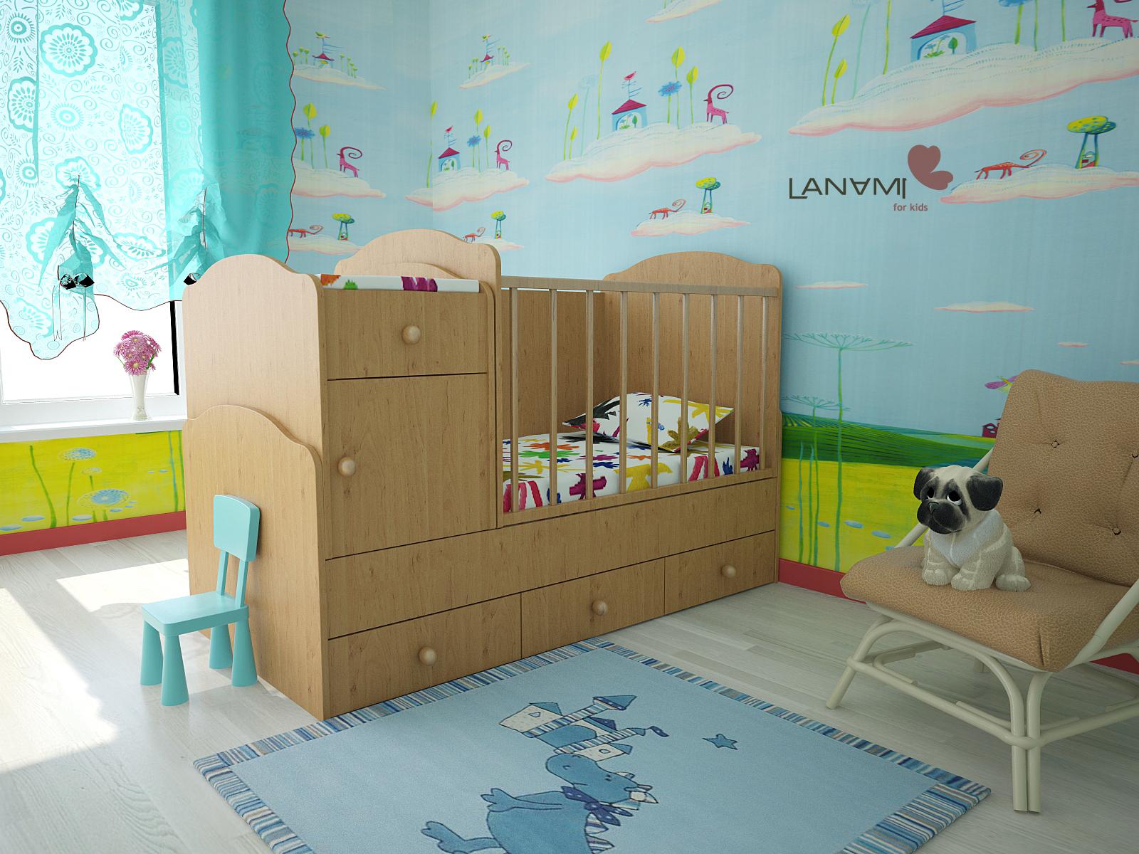 детская кровать трансформер в интерьере