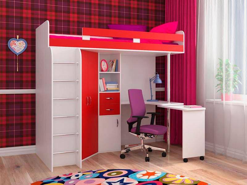 детская кровать чердак со столом дизайн фото
