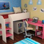 детская кровать чердак со столом дизайн идеи