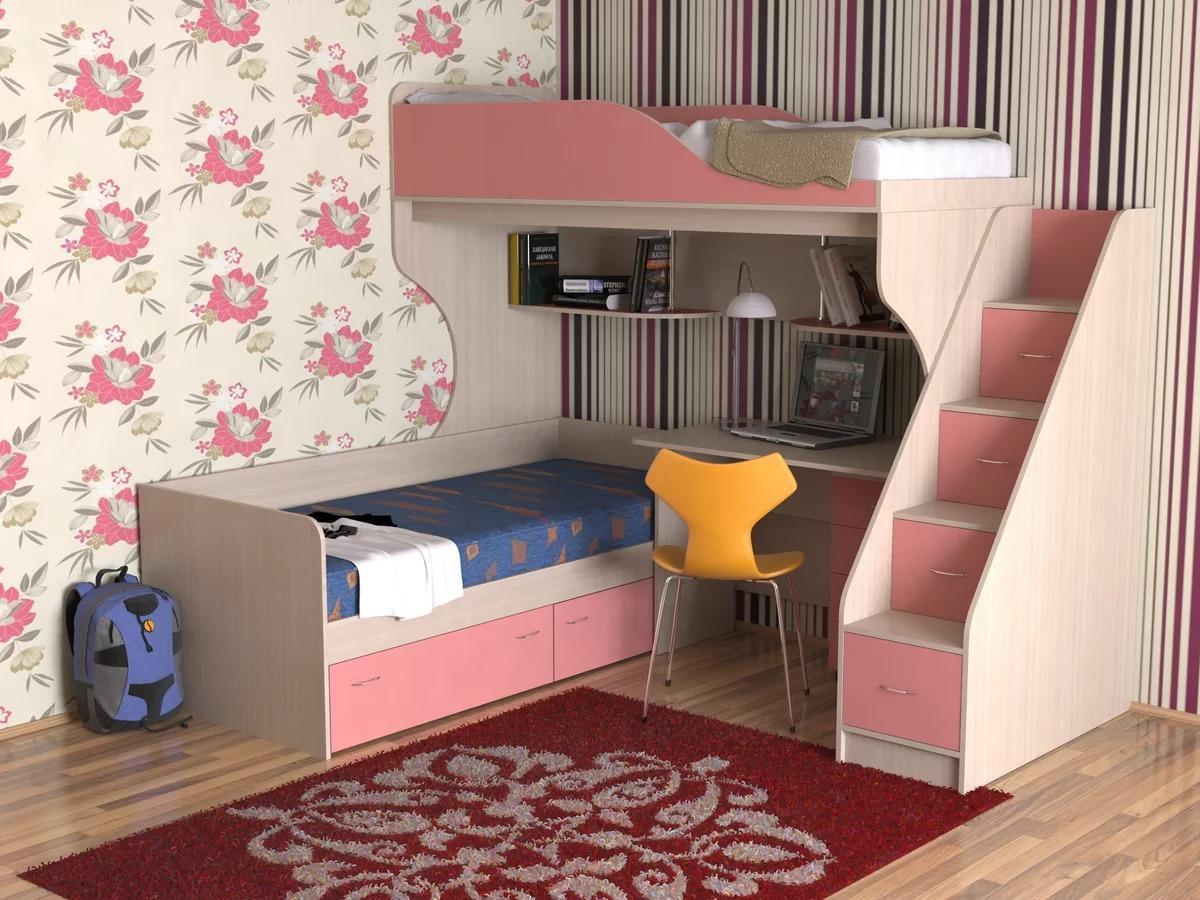 детская кровать чердак со столом для двоих детей