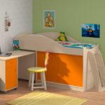 детская кровать чердак со столом фото дизайна