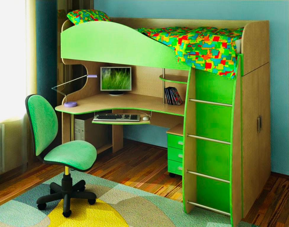 детская кровать чердак со столом фото