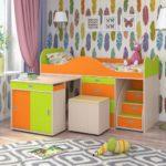 детская кровать чердак со столом идеи дизайн