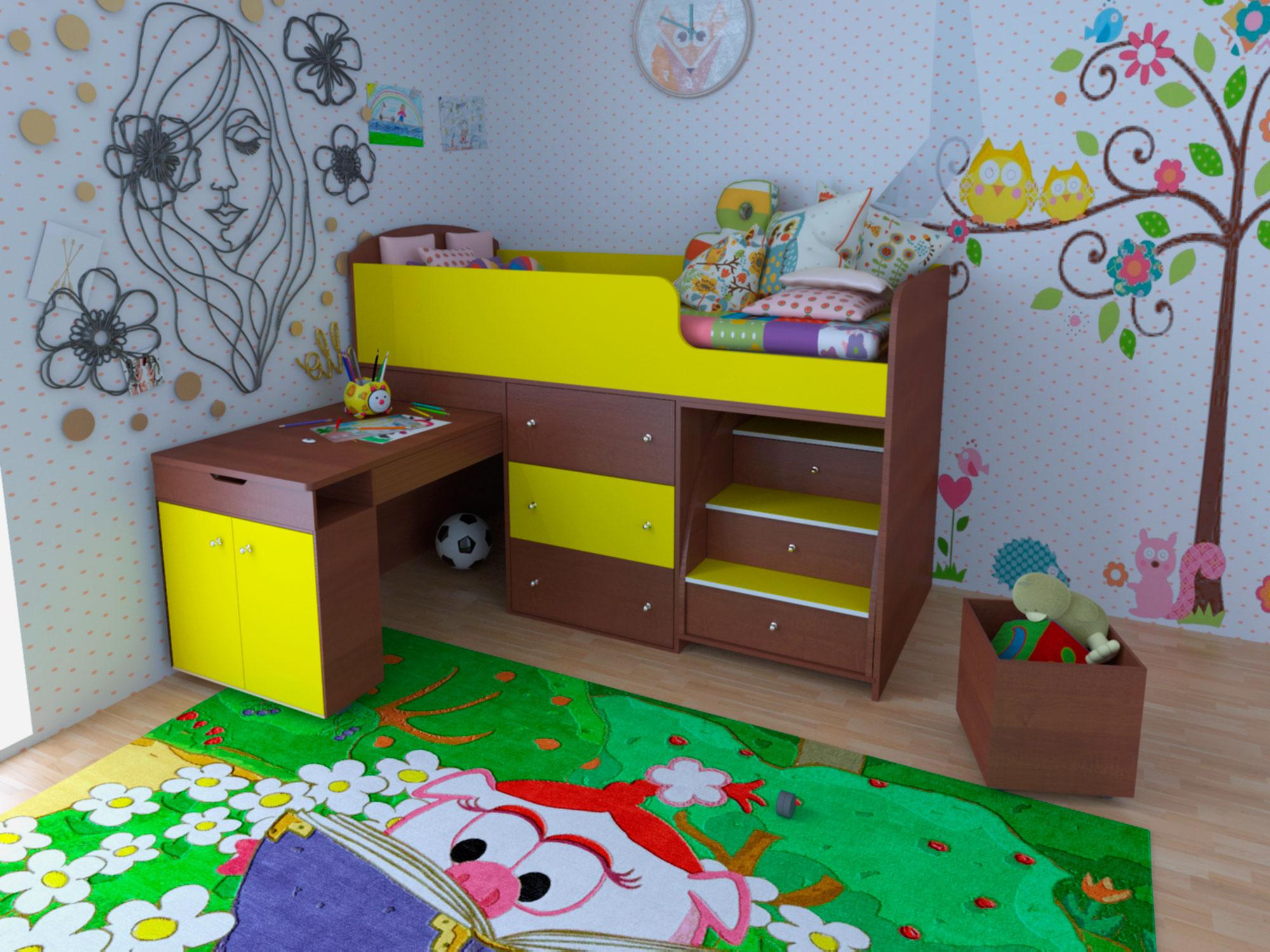 детская кровать чердак со столом идеи дизайна