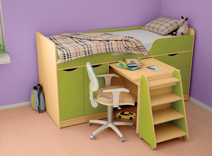 детская кровать чердак со столом идеи