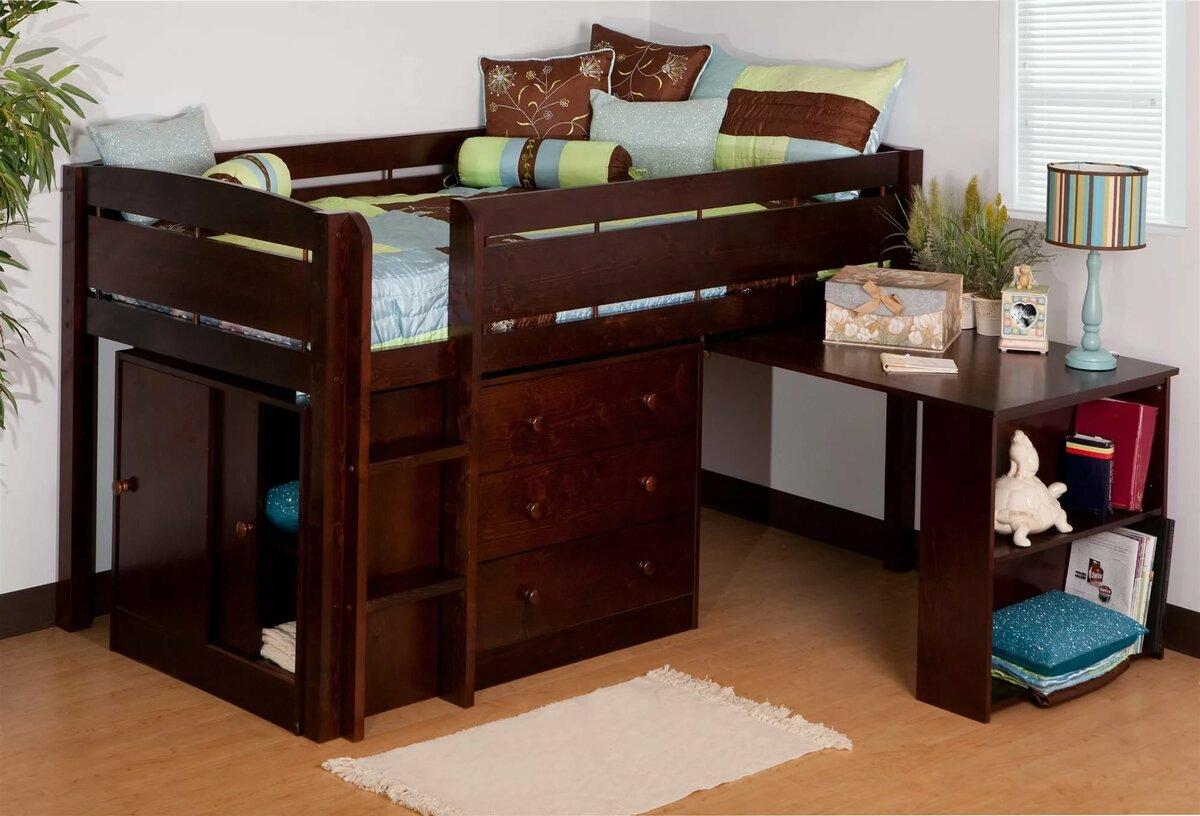 детская кровать со столом из дерева