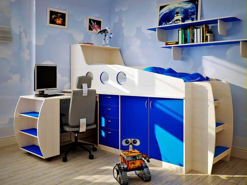 детская кровать со столом оформление фото