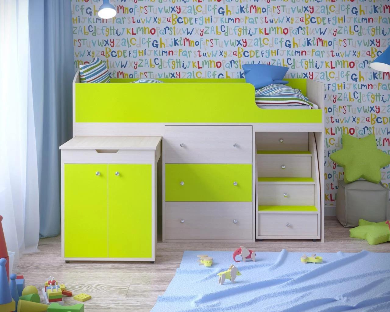 детская кровать чердак со столом оформление