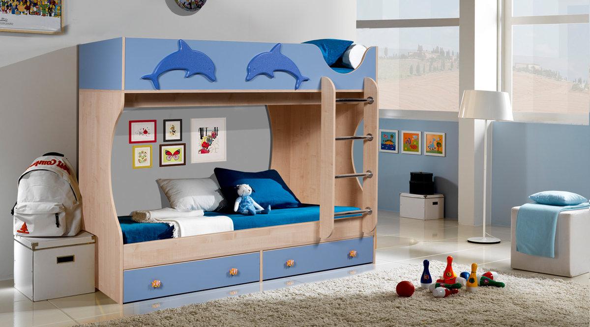 детская кровать дельфин двухъярусная
