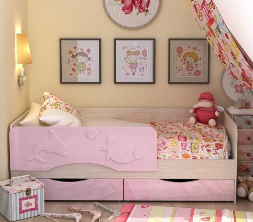 детская кровать дельфин розовая