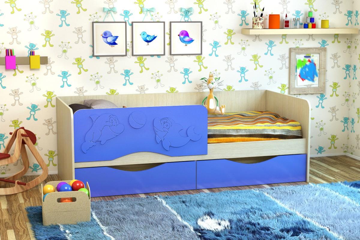 детская кровать дельфин синяя