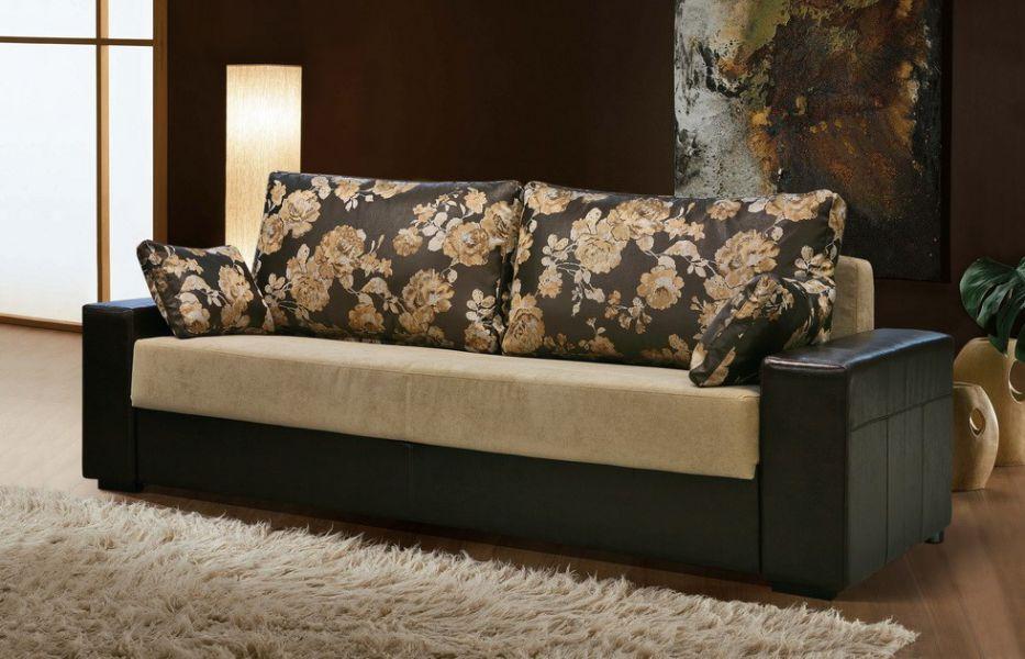 диван с комбинированной обивкой