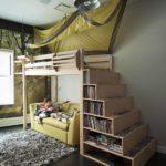 кровать-чердак с диваном с ящиками