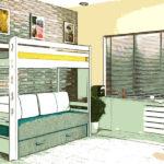кровать-чердак с диваном эскиз