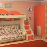 кровать-чердак с диваном оранжевая