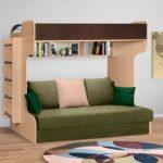 кровать-чердак с диваном зеленый