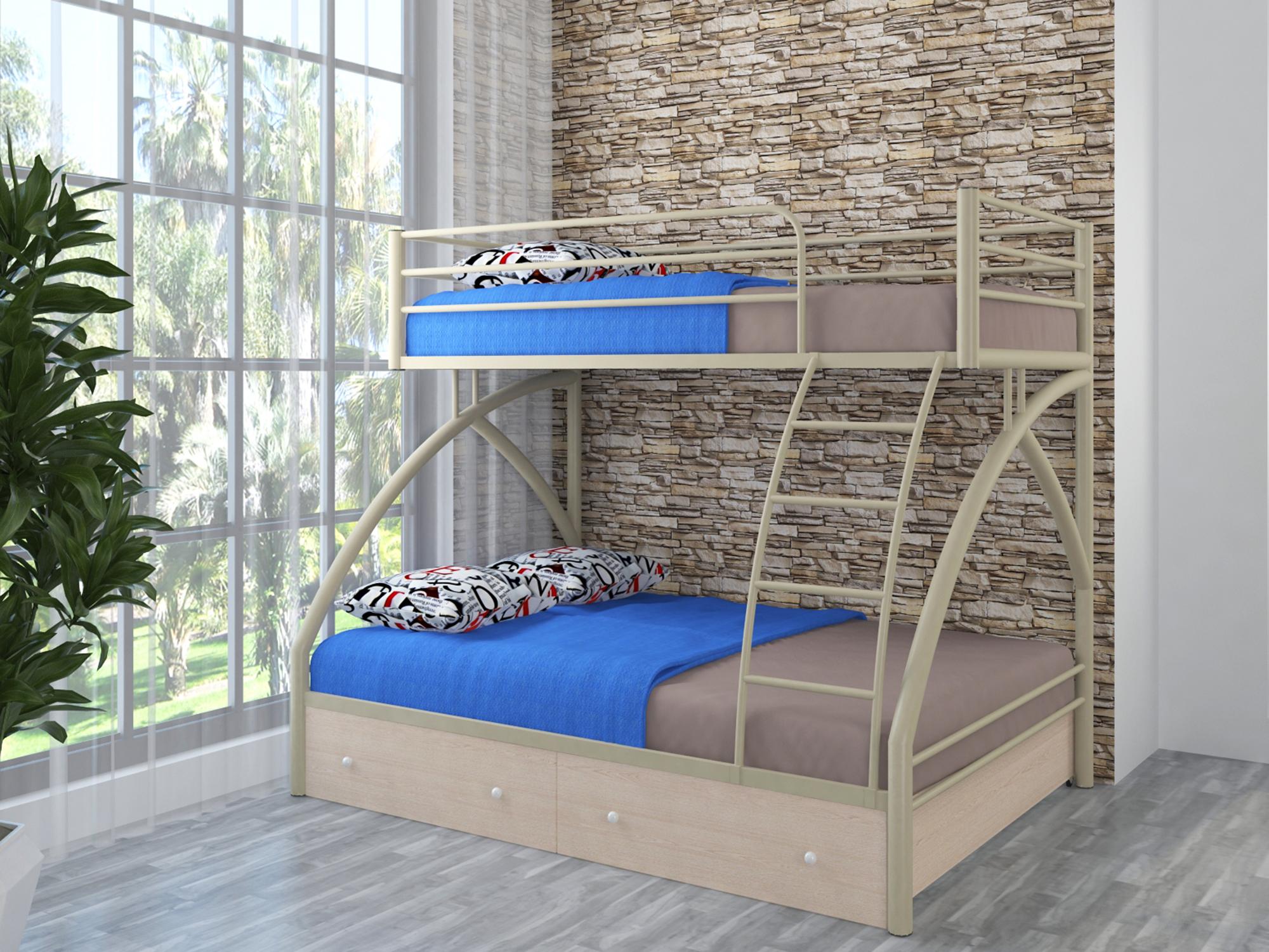 кровать двухъярусная металлическая фото оформление