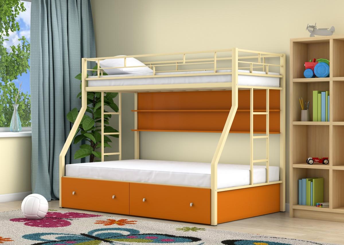 кровать двухъярусная металлическая фото оформления