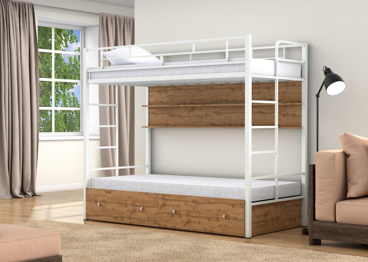 кровать двухъярусная металлическая оформление