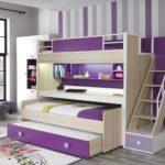 фиолетовая двухъярусная кровать с выдвижными ящиками