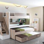 белая двухъярусная кровать с выдвижными ящиками
