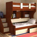 двухъярусные кровати с выдвижными шкафчиками